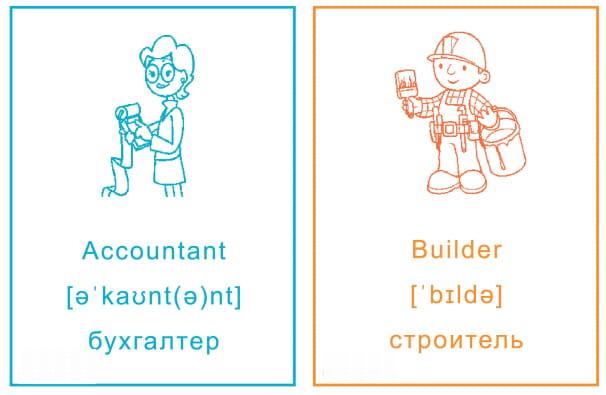Карточки с названиями профессий на английском