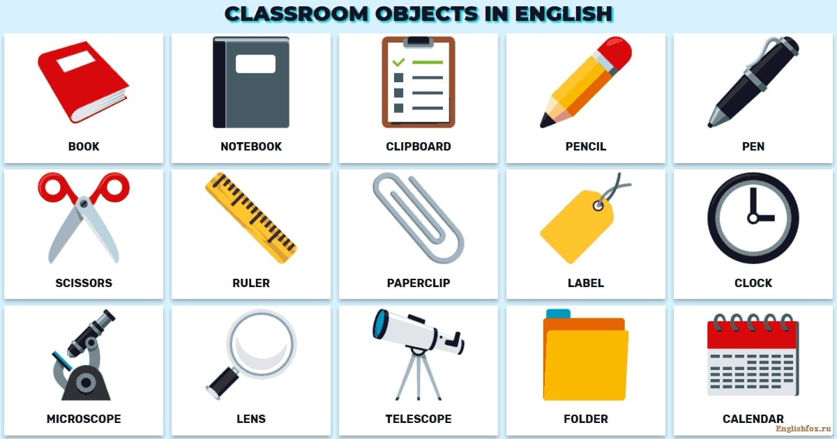 classrooms objects in English