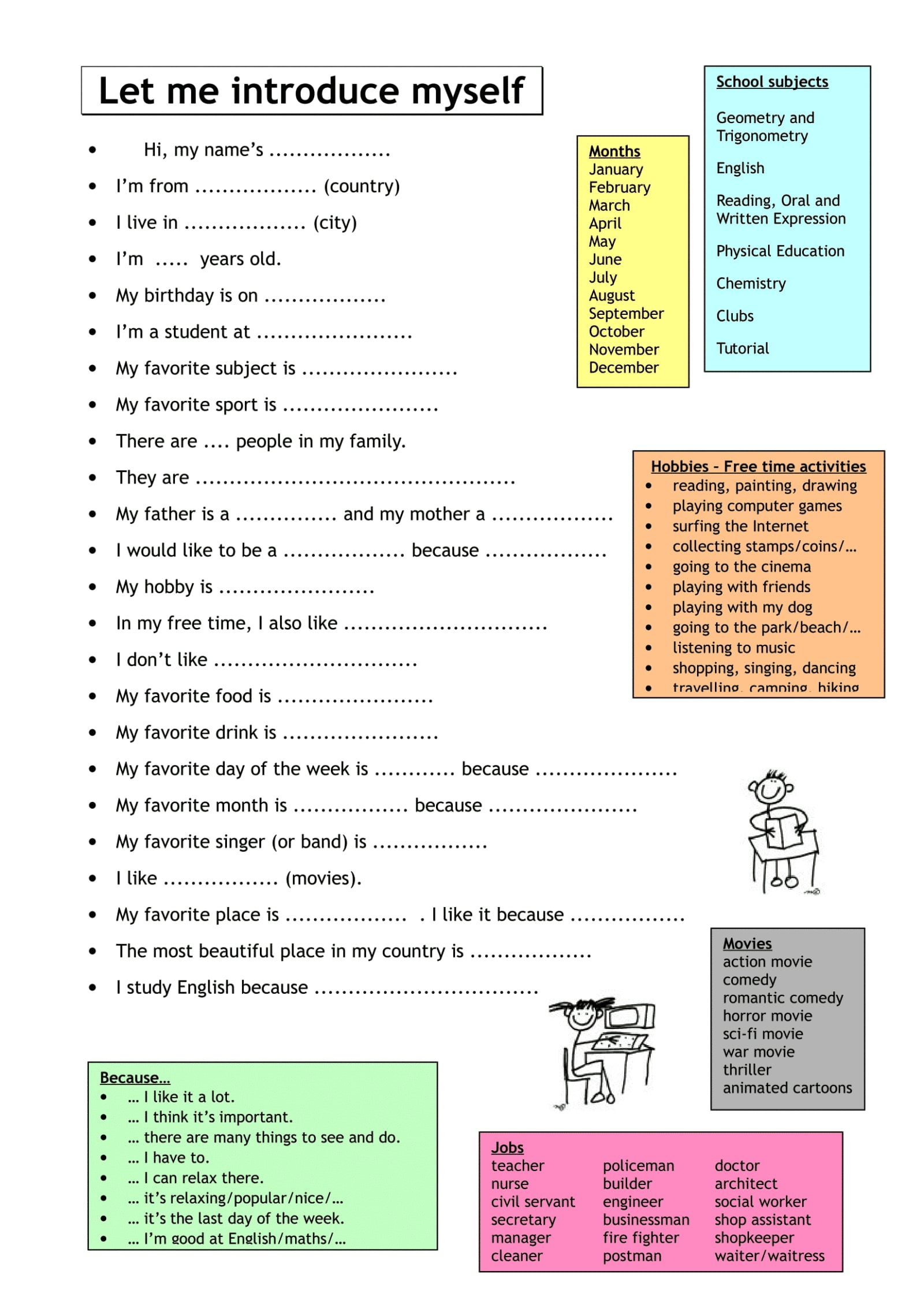 How to Introduce Yourself worksheets